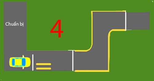 Qua vệt bánh xe đường hẹp vuông góc